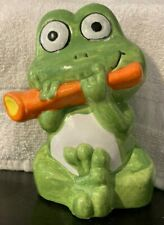 "Vintage Frog Playing Flute bank, 6"" tall, circa 1980s"