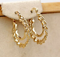 18K Gold Filled Earrings 2-Layer Hollow Circle Laciness Symmetry Clip-On L8