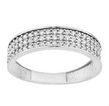 9ct White gold triple row band created diamond ring size O