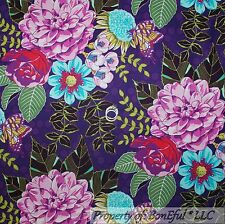 BonEful Fabric FQ Cotton Quilt Purple Pink Green Lg Flower Leaf Butterfly Garden