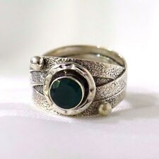 925 STERLING SILVER HAMMERED MULTI BAND & DEEP GREEN ONYX GEMSTONE RING SIZE 7