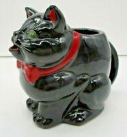 "1951 Shafford Japan Black Cat Redware Figurine Creamer Pitcher  5"" Tall"