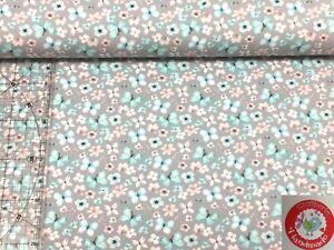 Jersey - Schmetterlinge - Blumen - hellgrau / mint / rose - Stoffperle