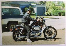 Vintage PHOTO Man In Peanut Helmet Posing On Harley Davidson Motorcycle