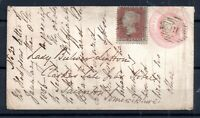 GB QV 1856 1d pink Stationery Cover + 1d red Uprated to Taunton WS18519