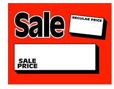 """100 - 7"""" x 11"""" Sale/Reg Price cards for Retail Stores Nice Signage"""