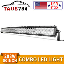 Offroad 50inch Led Work Light Bar Curved Flood Spot Combo Truck Roof Driving