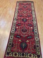 "2'7"" x 8' New Indian Agra Floor Runner Oriental Rug - Hand Made - 100% Wool"