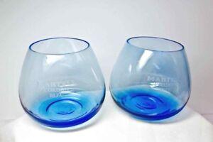 MARTELL Cordon Bleu COGNAC SNIFTER Stemless Crystal 2 Glass Balloon Roly Poly