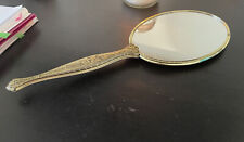 "Vintage Dresser Vanity Hand Held Mirror 14"" Long Victoria Gold Ornate Metal"