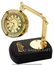 Nautical Brass Vintage Antique Style Brass Desk Clock On Movable Stand Wood Base