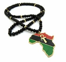 "New Ankh Cross Africa Pendant & 30"" Wood Bead Chain Hip Hop Necklace - RC2517G"