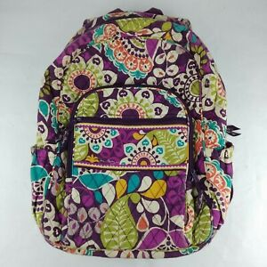 """Vera Bradley Quilted Backpack PLUM CRAZY Pattern Ret. 2013 18""""T x 12""""W x 7""""D"""
