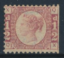 GB 1870 QV SG48 RED ½d BANTAM PLATE 4 UNUSED LETTERS 'QX'