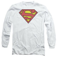 Superman CLASSIC LOGO Licensed Adult Long Sleeve T-Shirt S-3XL