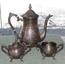 Vintage Sheridan Silversmiths Silverplate Coffee Service Pot Creamer Sugar Bowl
