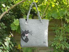 !!!SALE!!! HAND MADE Cat with a Bow Grey Felt Shoulder Handbag Fully Lined
