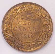 1916 Large Cent CHOICE MS UNC RB * Beautiful Lustrous King George V Canada Penny
