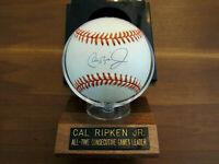CAL RIPKEN JR. ORIOLES IRON MAN HOF SIGNED AUTO 2131 #8 OAL BASEBALL & BASE JSA