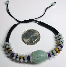 Natural Burmese Grade A Jadeite Jade Adjustable Woven Bracelet