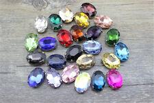 36pcs Sew On 14x10mm oval rhinestone crystal cabochons point back cut glass y-pk