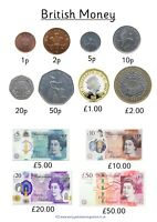 British Money, Quick view A4 poster full colour  All NEW coins and notes! 2020