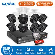 SANNCE 5IN1 8CH DVR HD 1080P CCTV AI Human Camera Outdor Home Surveillance Kit