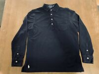 Polo Ralph Lauren Button Shirt Navy Blue Size Medium M Soft Polo Rugby PRL RRL