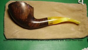 New Freehand from Closed Pipe shop Bent Style Germany with Acrylic Stem 9mm#1027