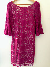 NWT Vince Camuto Designer Pink Gorgeous Lace Bell Sleeve Cocktail Dress 12 $148
