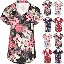 Womens Curved Hem Choker Neck Lagenlook Baggy Fit Rose Floral Ladies T Shirt Top