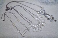 VINTAGE TO NOW CHUNKY CLEAR LUCITE BEADED SILVER TONE CHAIN NECKLACE LOT