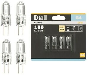 4 x Diall Dimmable G4 10W 16W 25W Replace Halogen Light Bulbs Warm White 12v NEW
