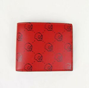Gucci Men's Red Leather Bifold Wallet with GG Hamlet Skull Print 449422 8969 N