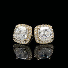 2 Ct Halo Cushion & Round Created Diamond Earrings 14K Yellow Gold Square Studs