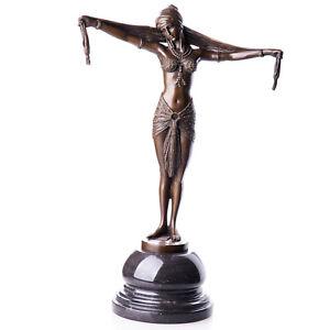 BT385♛Handgefertigte Bronze-Figur/Statue Scarf Dancer nach D.H.Chiparus