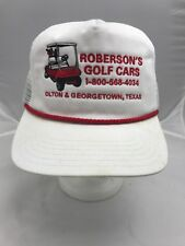 769e9d16e Roberson's Golf Cars White Red Embroidered Hat Olton & Georgetown Texas VTG  USA