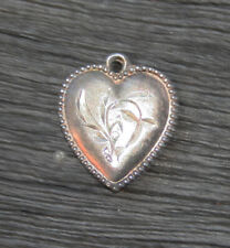 - Beaded Border with Chased Flower Vintage Sterling Silver Puffy Heart Charm