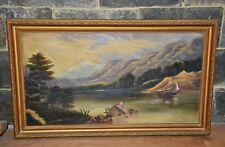 VINTAGE ancien huile sur toile paysage de montagne navire peinture signée encadrée