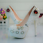 White Crown Red Diamond Bridal Wedding Ball Club Shoe High Heels Party L