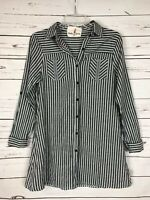 Boho Jane Boutique Women's S Small Black Striped Pocket Tunic Top Shirt Blouse
