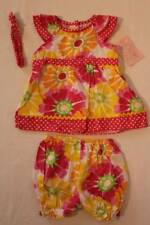 NEW Baby Girls 3 piece Outfit 12 Months Shirt Diaper Cover Headband Set Floral