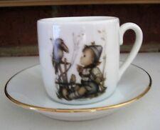 Mj Hummel Porcelain Cup & Saucer Reutter Porzellan Germany Boy Talking To Bird