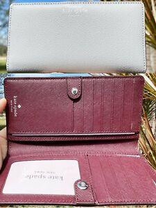 Kate Spade Cameron Large Slim Bifold Wallet Pink Blue Black Floral