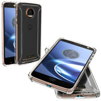 For Moto Z / Moto Z Droid + Clear Shockproof 360° Bumper TPU Cover Case