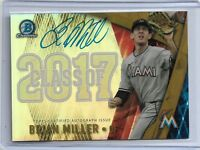 Brian Miller Miami Marlins 2017 Bowman Draft class of 2017 Autograph gold parall