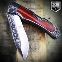 COWBOY Western Cherry WOOD HANDLE Lockback Folding Pocket Knife Ornate Bolster
