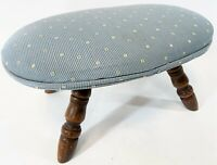 "Vintage 14"" Blue Cotton Fabric Turned Wood Leg Dot Stripe Oval Sewing Foot Stool"