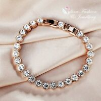18K Rose Gold Filled Made With Swarovski Crystal Round Cut Tennis Bracelet