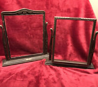 Pair Antique Wooden Art Deco Standing Swivel Picture Frame Vintage with glass